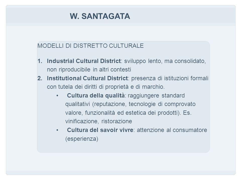 W. SANTAGATA MODELLI DI DISTRETTO CULTURALE 1.Industrial Cultural District: sviluppo lento, ma consolidato, non riproducibile in altri contesti 2.Inst