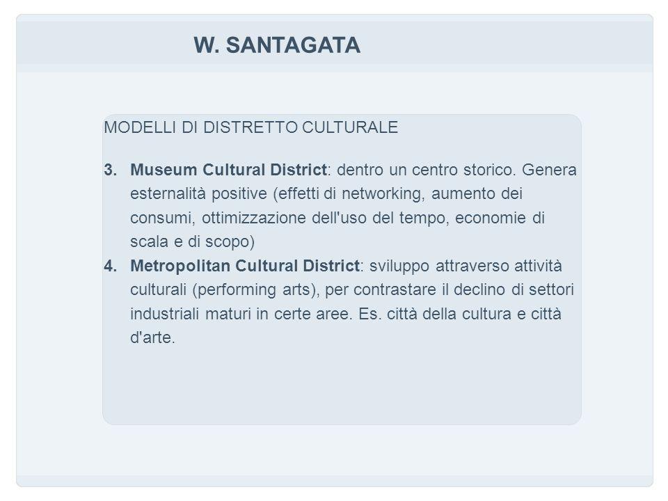 W. SANTAGATA MODELLI DI DISTRETTO CULTURALE 3.Museum Cultural District: dentro un centro storico.