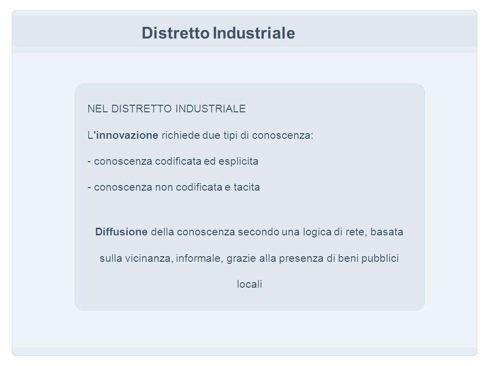 Distretto Industriale NEL DISTRETTO INDUSTRIALE L innovazione richiede due tipi di conoscenza: - conoscenza codificata ed esplicita - conoscenza non codificata e tacita Diffusione della conoscenza secondo una logica di rete, basata sulla vicinanza, informale, grazie alla presenza di beni pubblici locali
