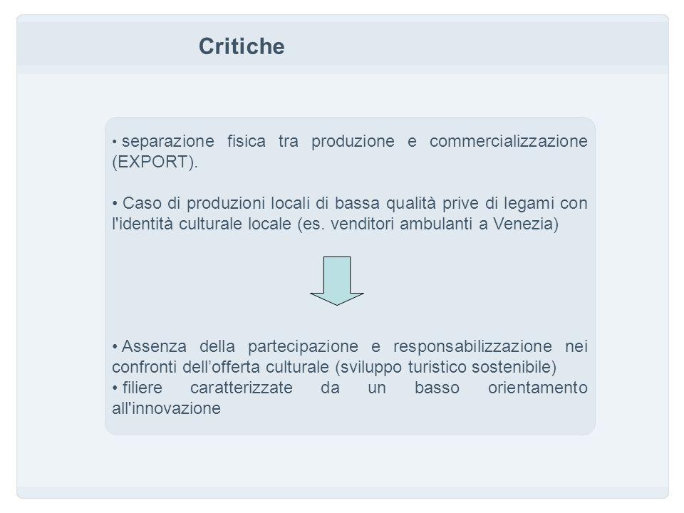 Critiche separazione fisica tra produzione e commercializzazione (EXPORT).