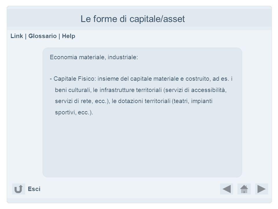 Le forme di capitale/asset Link | Glossario | Help Economia materiale, industriale: - Capitale Fisico: insieme del capitale materiale e costruito, ad es.
