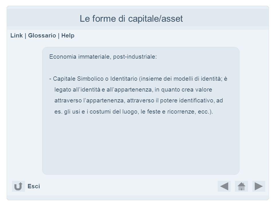 Le forme di capitale/asset Link | Glossario | Help Economia immateriale, post-industriale: - Capitale Simbolico o Identitario (insieme dei modelli di identità; è legato allidentità e allappartenenza, in quanto crea valore attraverso lappartenenza, attraverso il potere identificativo, ad es.
