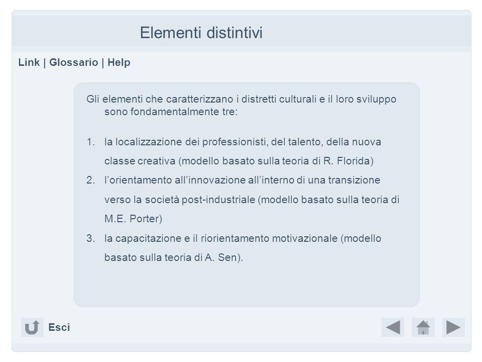 Elementi distintivi Link | Glossario | Help Gli elementi che caratterizzano i distretti culturali e il loro sviluppo sono fondamentalmente tre: 1.la localizzazione dei professionisti, del talento, della nuova classe creativa (modello basato sulla teoria di R.
