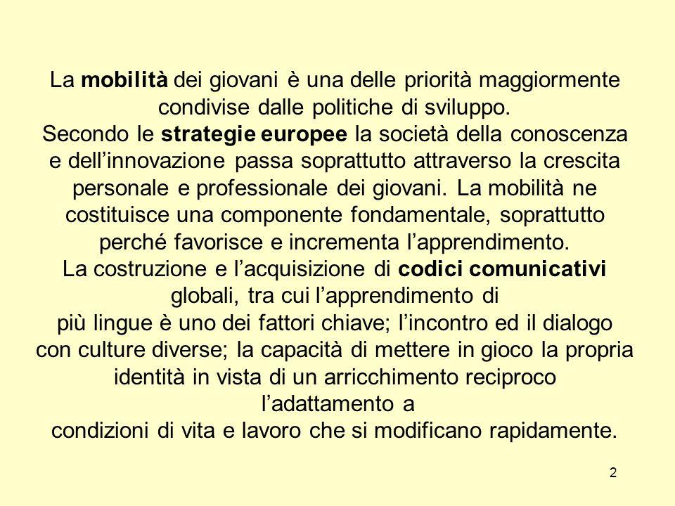 2 La mobilità dei giovani è una delle priorità maggiormente condivise dalle politiche di sviluppo.