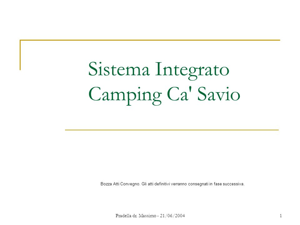 Pradella dr. Massimo - 21/06/20041 Sistema Integrato Camping Ca' Savio Bozza Atti Convegno. Gli atti definitivi verranno consegnati in fase successiva