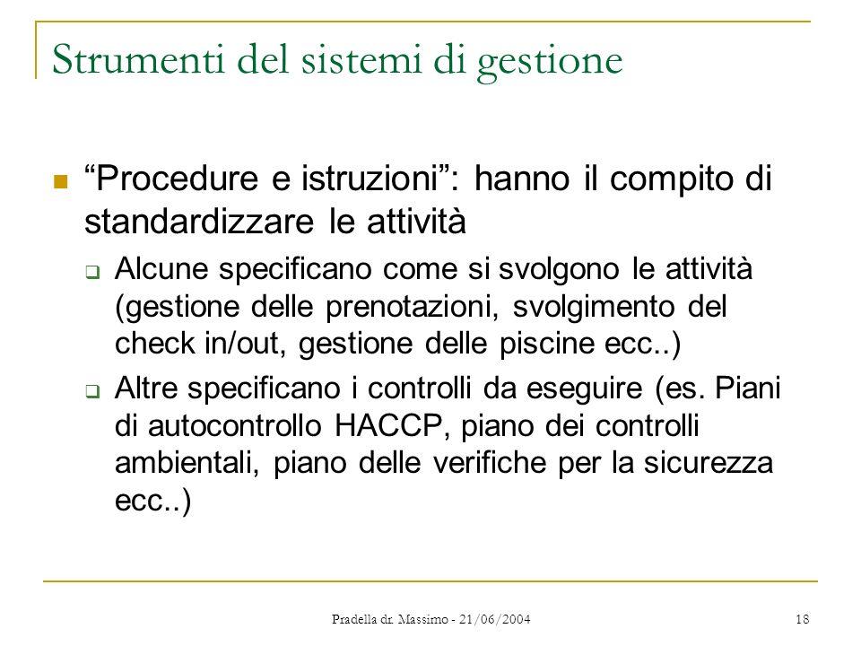 Pradella dr. Massimo - 21/06/2004 18 Strumenti del sistemi di gestione Procedure e istruzioni: hanno il compito di standardizzare le attività Alcune s