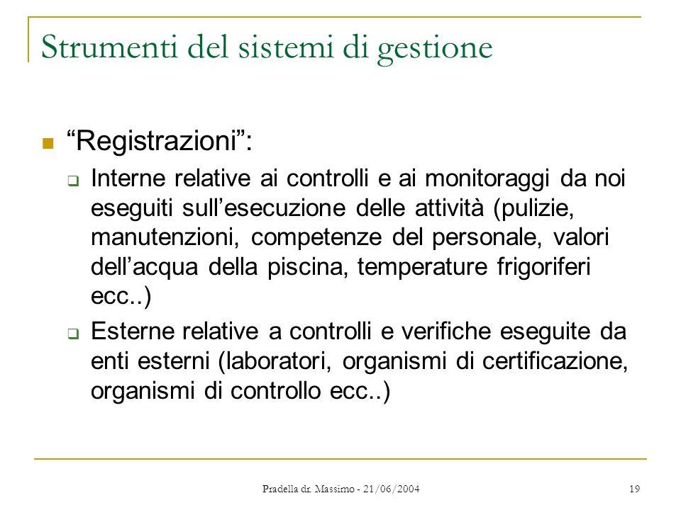 Pradella dr. Massimo - 21/06/2004 19 Strumenti del sistemi di gestione Registrazioni: Interne relative ai controlli e ai monitoraggi da noi eseguiti s