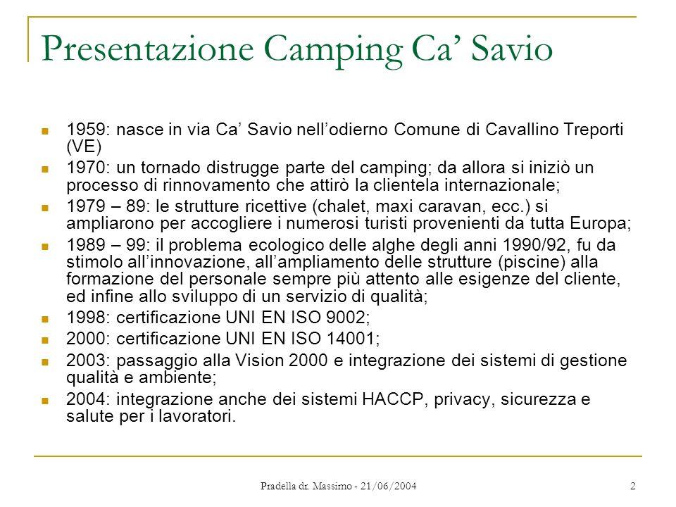 Pradella dr. Massimo - 21/06/2004 2 Presentazione Camping Ca Savio 1959: nasce in via Ca Savio nellodierno Comune di Cavallino Treporti (VE) 1970: un