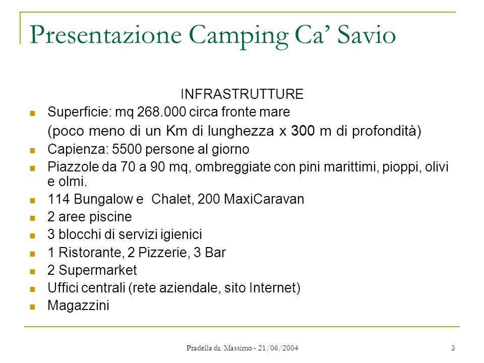 Pradella dr. Massimo - 21/06/2004 3 Presentazione Camping Ca Savio INFRASTRUTTURE Superficie: mq 268.000 circa fronte mare (poco meno di un Km di lung