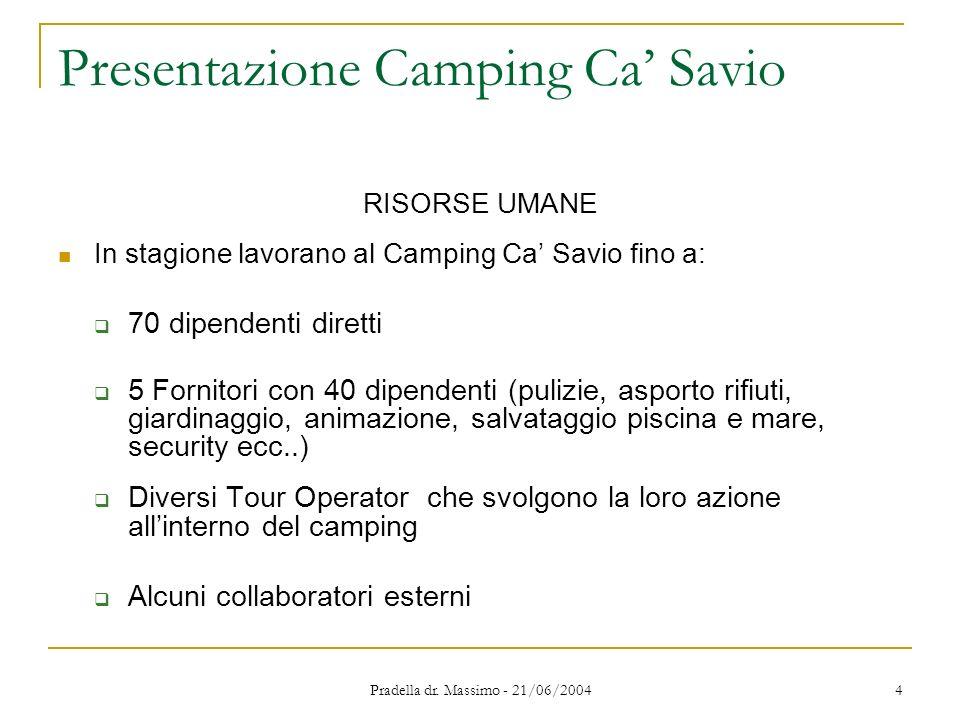 Pradella dr. Massimo - 21/06/2004 4 Presentazione Camping Ca Savio RISORSE UMANE In stagione lavorano al Camping Ca Savio fino a: 70 dipendenti dirett