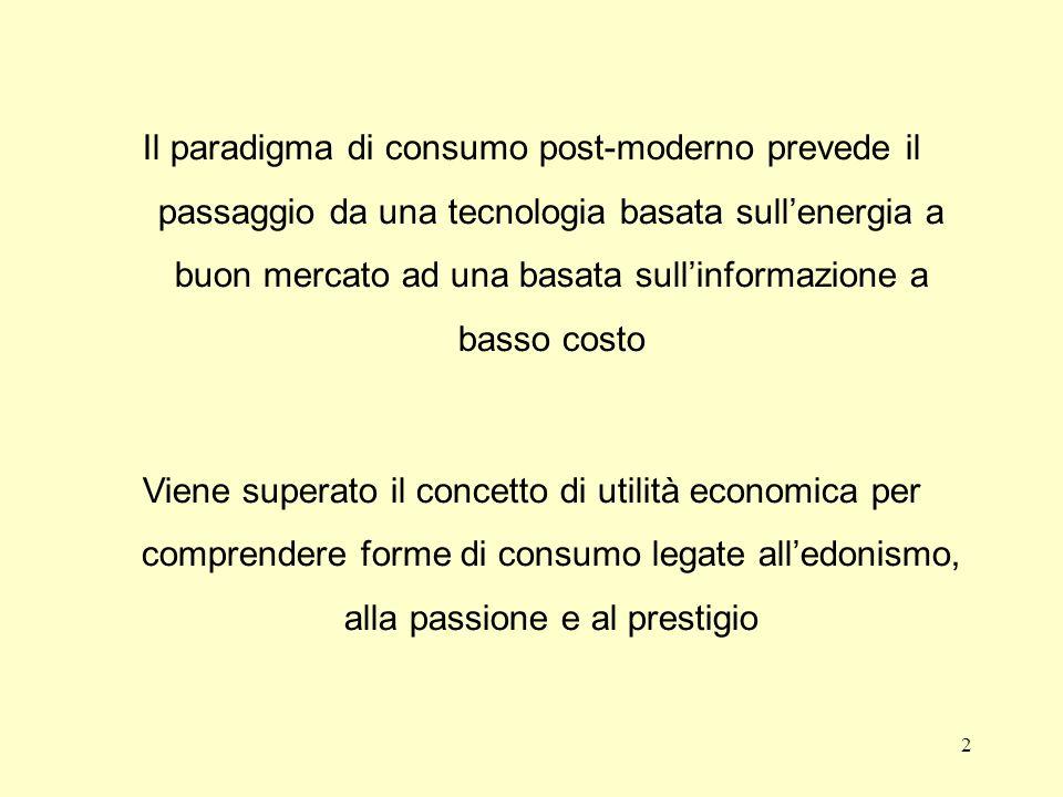 Il paradigma di consumo post-moderno prevede il passaggio da una tecnologia basata sullenergia a buon mercato ad una basata sullinformazione a basso c