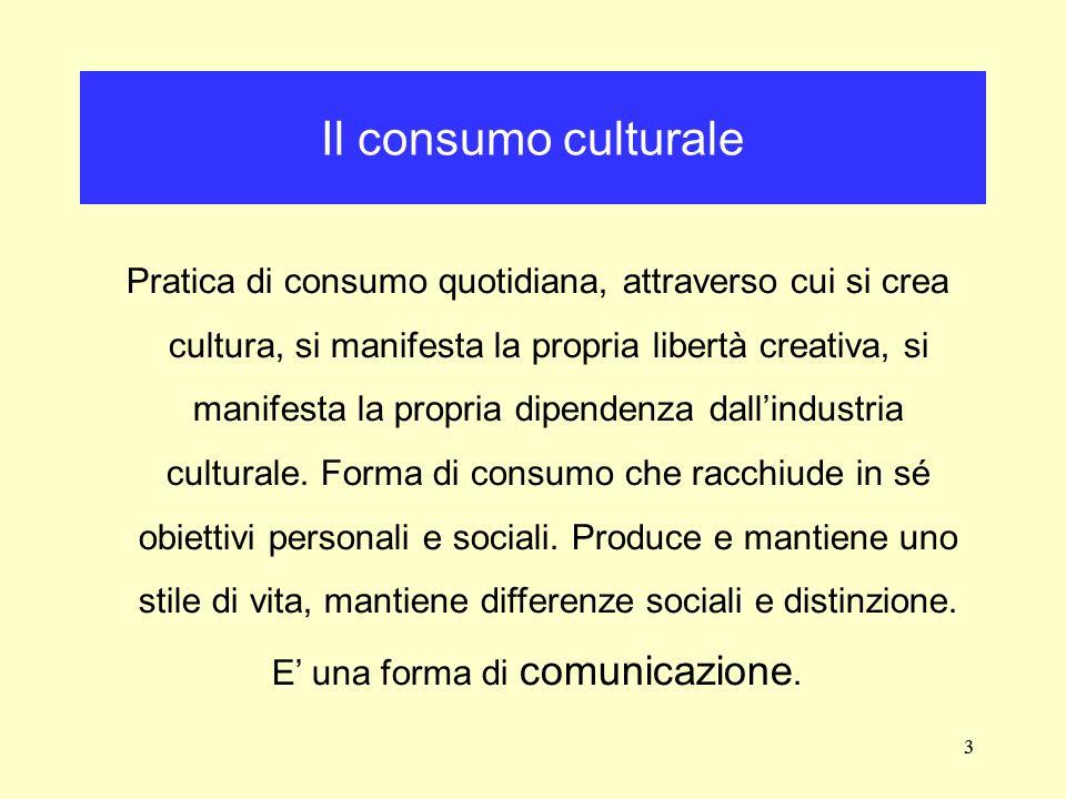 3 Pratica di consumo quotidiana, attraverso cui si crea cultura, si manifesta la propria libertà creativa, si manifesta la propria dipendenza dallindu