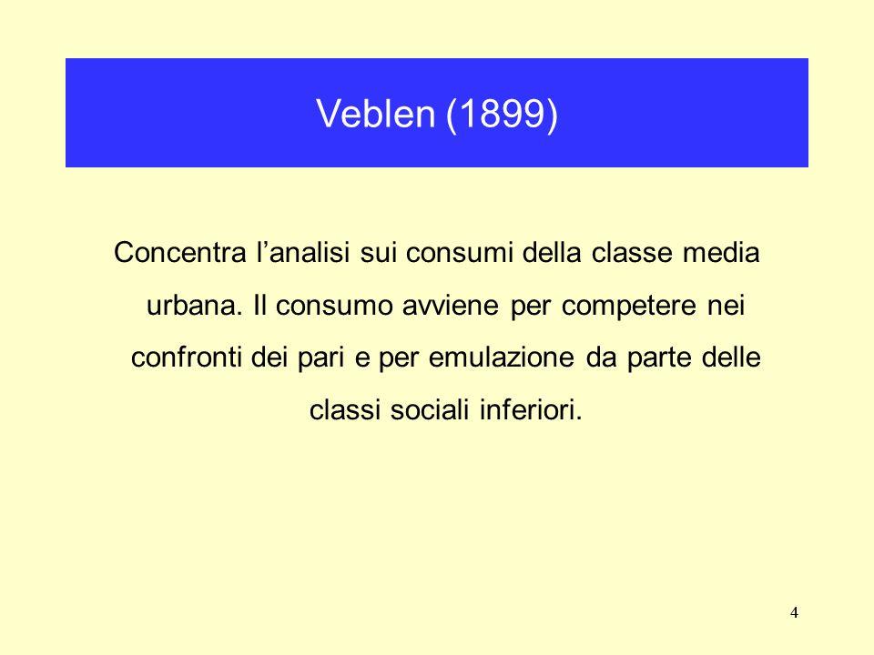 4 Concentra lanalisi sui consumi della classe media urbana. Il consumo avviene per competere nei confronti dei pari e per emulazione da parte delle cl