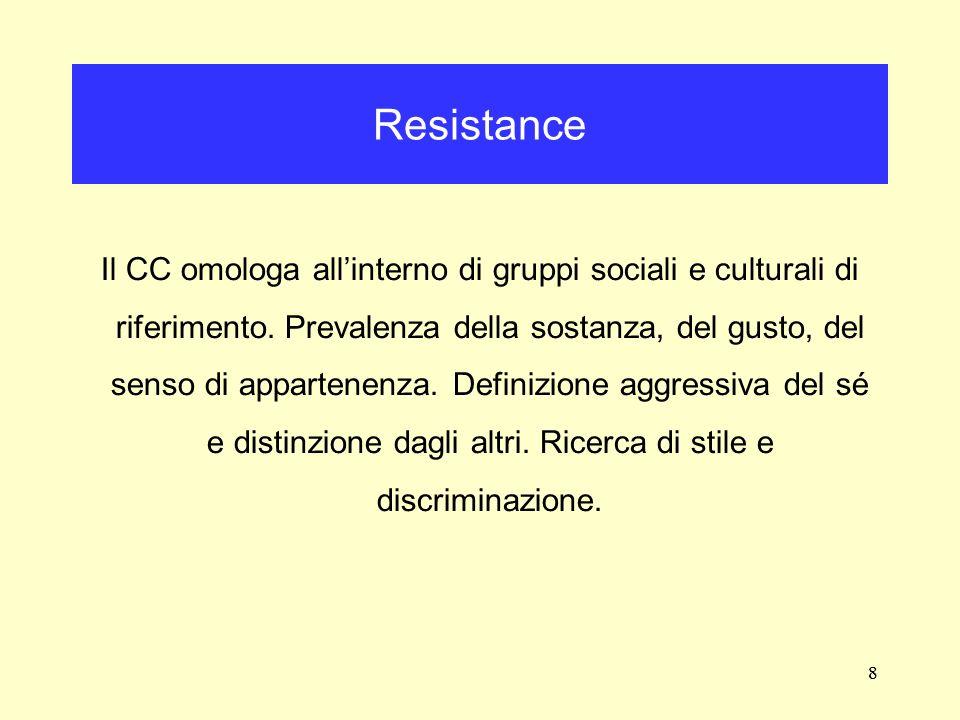 8 Il CC omologa allinterno di gruppi sociali e culturali di riferimento. Prevalenza della sostanza, del gusto, del senso di appartenenza. Definizione