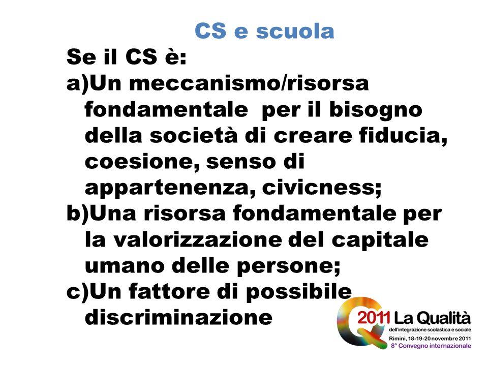 CS e scuola Se il CS è: a)Un meccanismo/risorsa fondamentale per il bisogno della società di creare fiducia, coesione, senso di appartenenza, civicnes