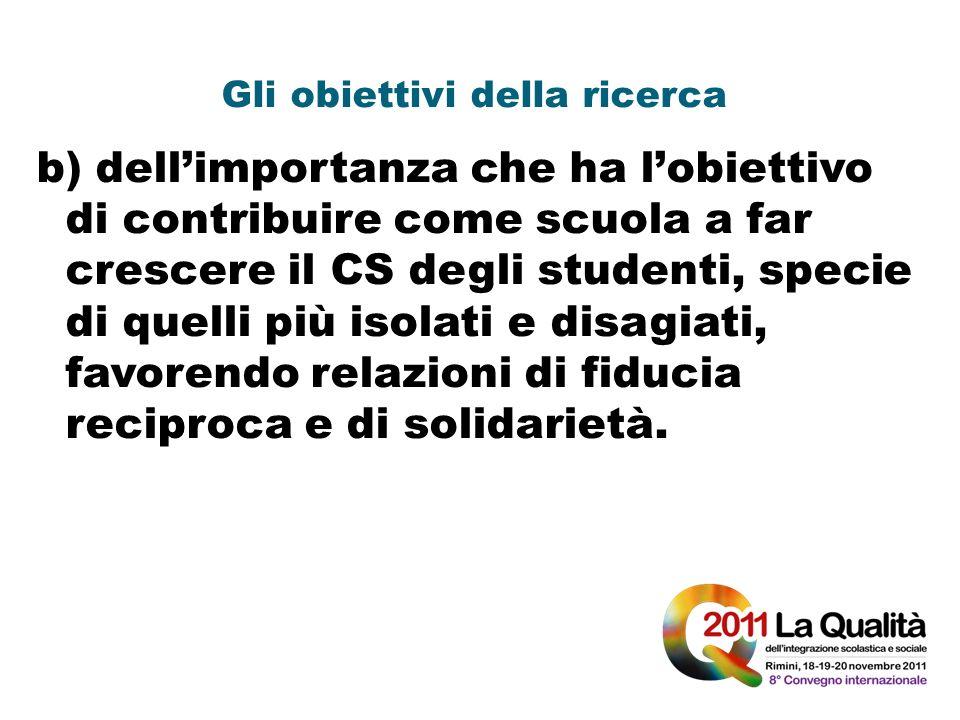 Gli obiettivi della ricerca b) dellimportanza che ha lobiettivo di contribuire come scuola a far crescere il CS degli studenti, specie di quelli più i