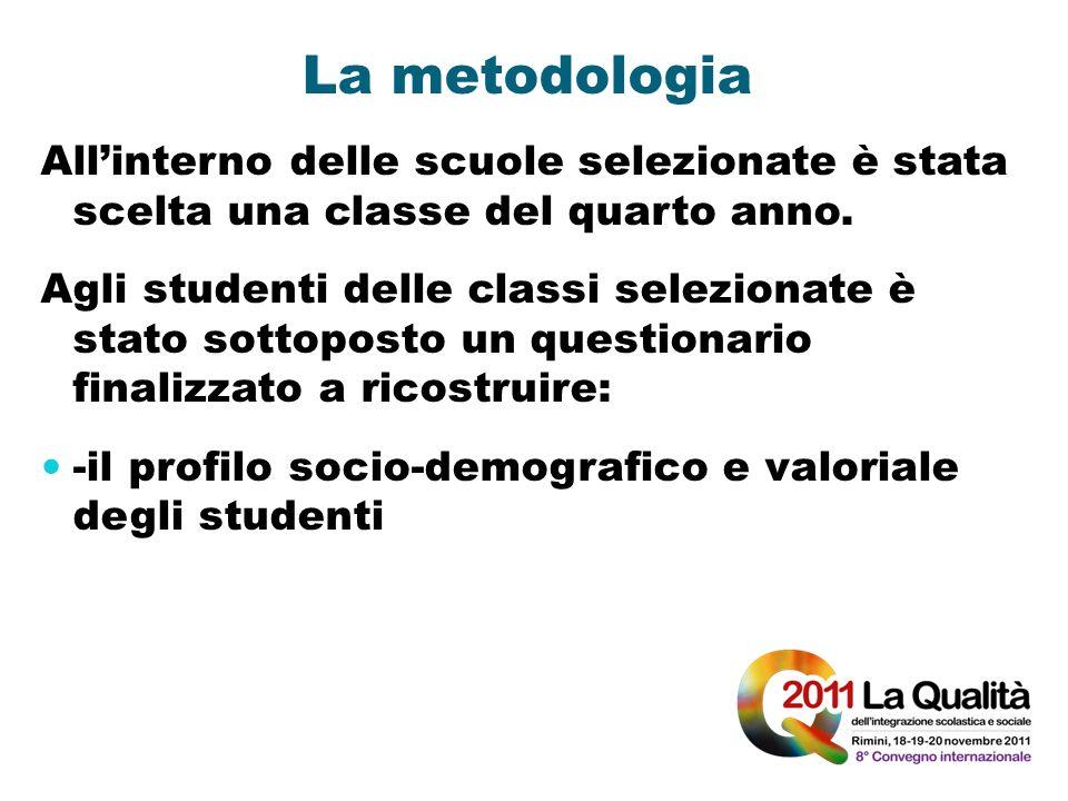 La metodologia Allinterno delle scuole selezionate è stata scelta una classe del quarto anno. Agli studenti delle classi selezionate è stato sottopost