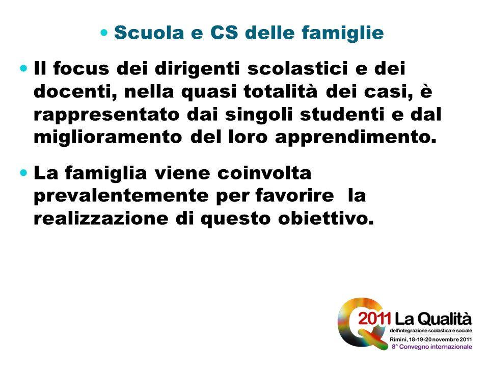 Scuola e CS delle famiglie Il focus dei dirigenti scolastici e dei docenti, nella quasi totalità dei casi, è rappresentato dai singoli studenti e dal