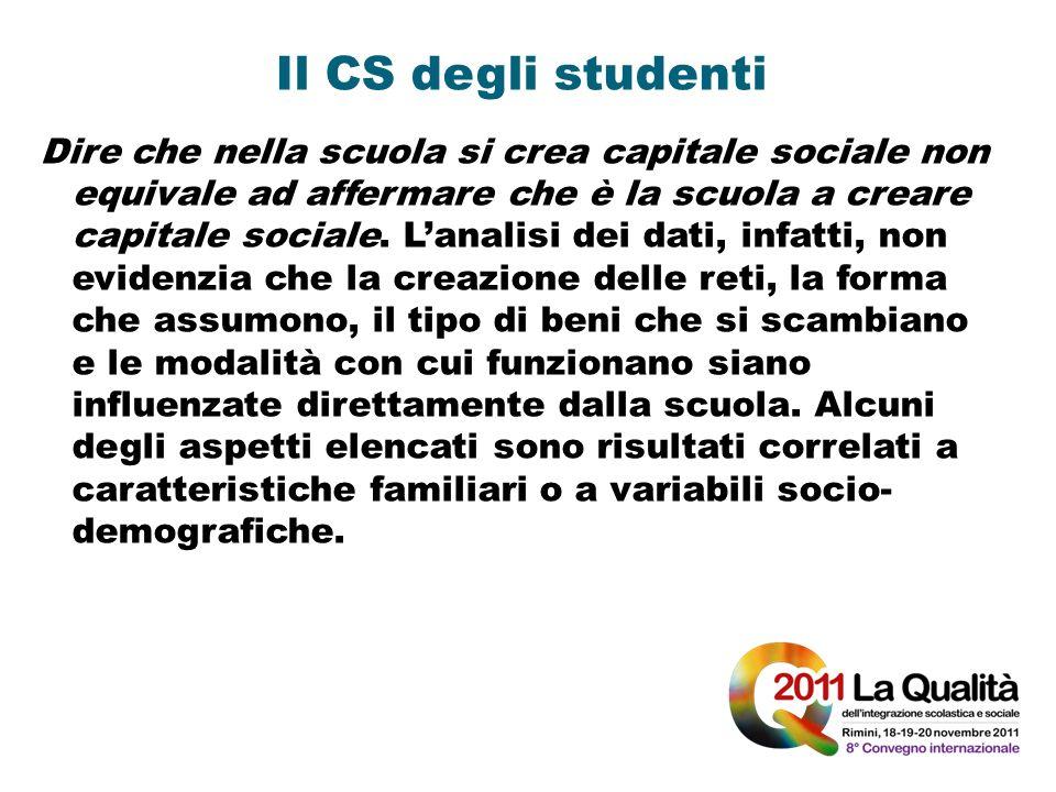 Il CS degli studenti Dire che nella scuola si crea capitale sociale non equivale ad affermare che è la scuola a creare capitale sociale. Lanalisi dei