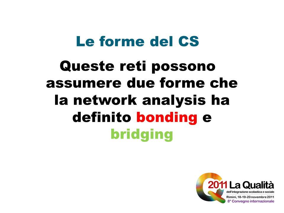 Le forme del CS Queste reti possono assumere due forme che la network analysis ha definito bonding e bridging