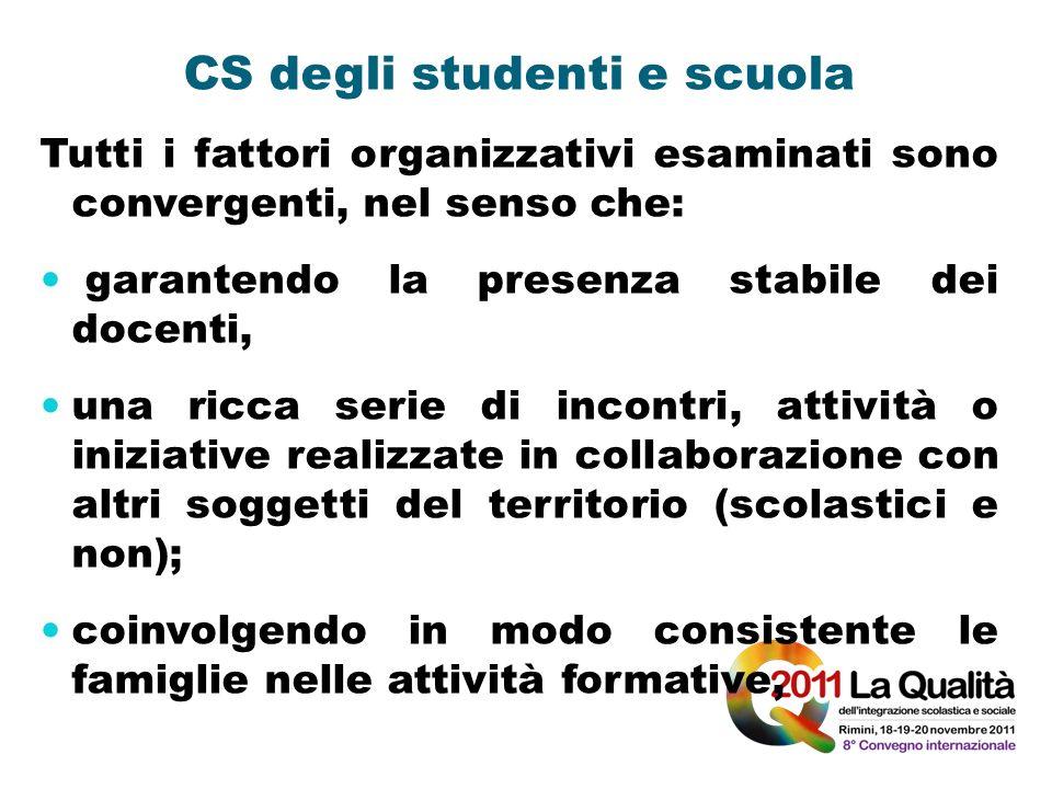 CS degli studenti e scuola Tutti i fattori organizzativi esaminati sono convergenti, nel senso che: garantendo la presenza stabile dei docenti, una ri