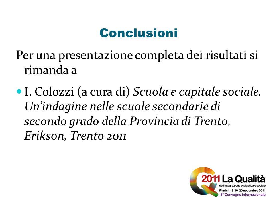 Conclusioni Per una presentazione completa dei risultati si rimanda a I. Colozzi (a cura di) Scuola e capitale sociale. Unindagine nelle scuole second