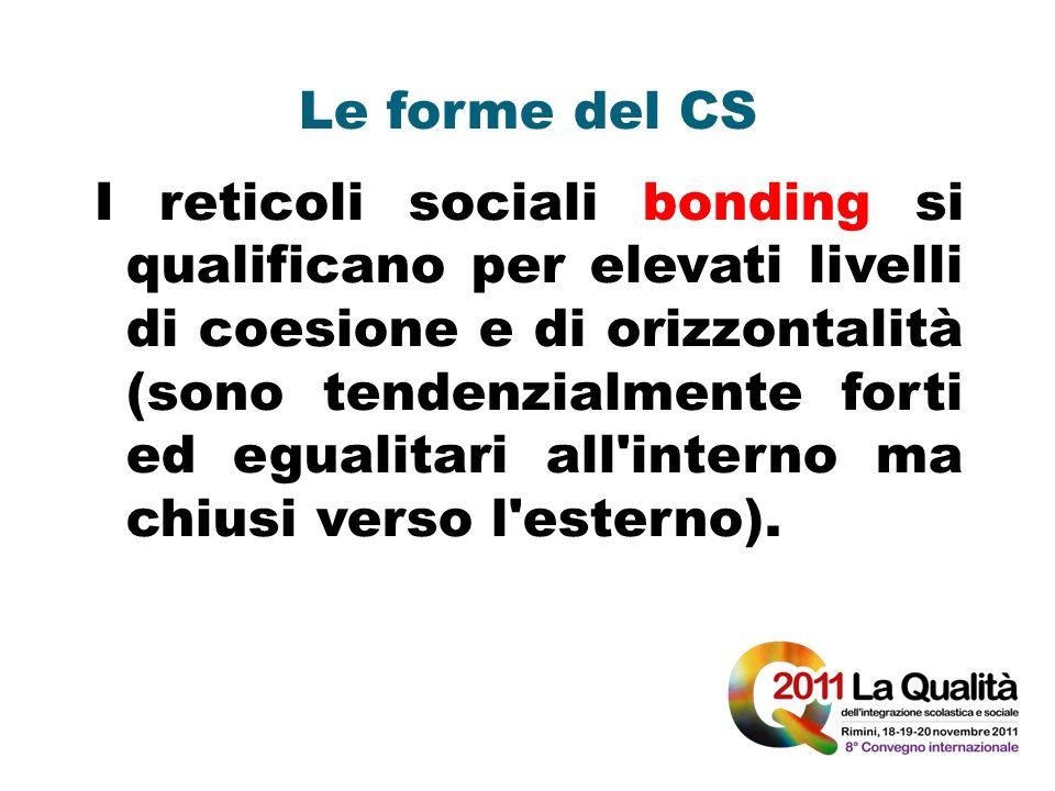 Le forme del CS I reticoli sociali bonding si qualificano per elevati livelli di coesione e di orizzontalità (sono tendenzialmente forti ed egualitari