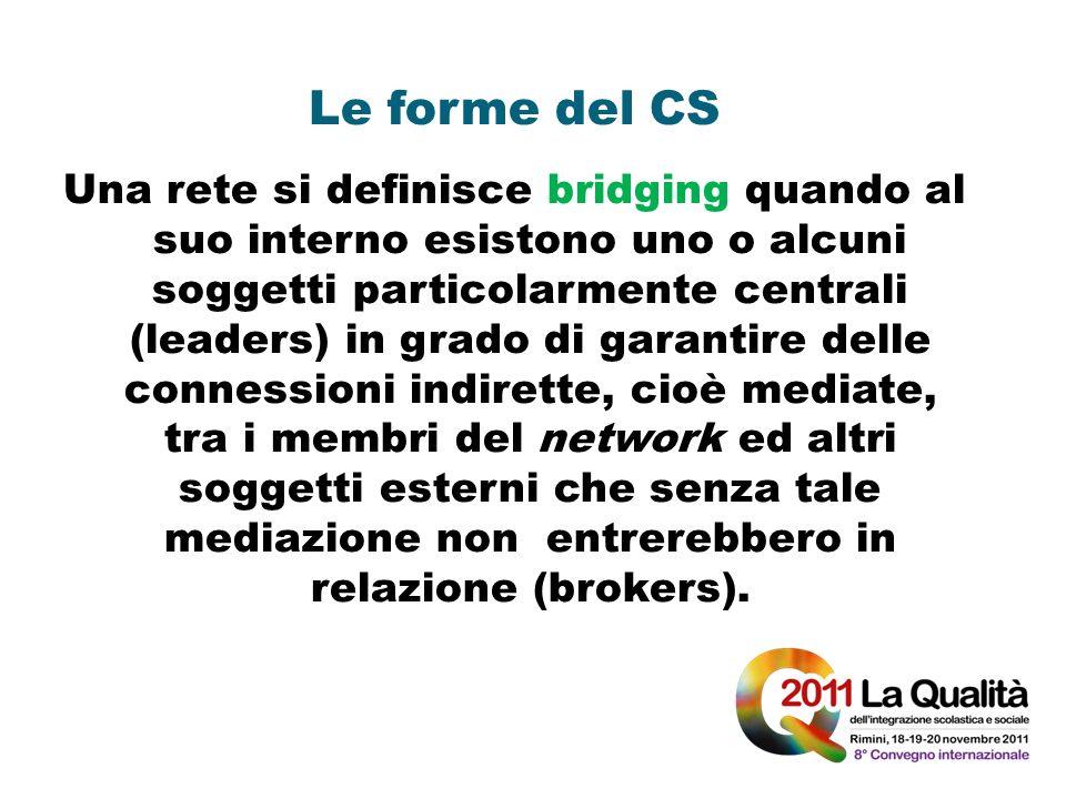 Le forme del CS Una rete si definisce bridging quando al suo interno esistono uno o alcuni soggetti particolarmente centrali (leaders) in grado di gar