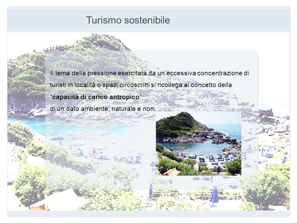 Turismo sostenibile Il tema della pressione esercitata da uneccessiva concentrazione di turisti in località o spazi circoscritti si ricollega al conce
