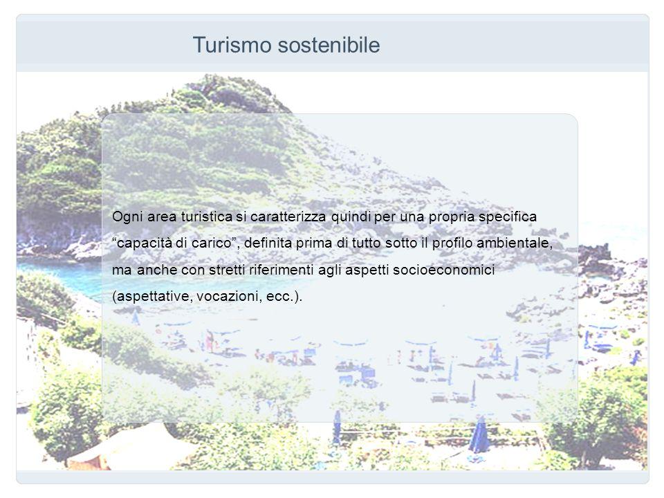 Turismo sostenibile Ogni area turistica si caratterizza quindi per una propria specifica capacità di carico, definita prima di tutto sotto il profilo
