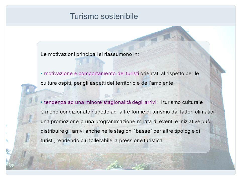 Turismo sostenibile Le motivazioni principali si riassumono in: motivazione e comportamento dei turisti orientati al rispetto per le culture ospiti, p