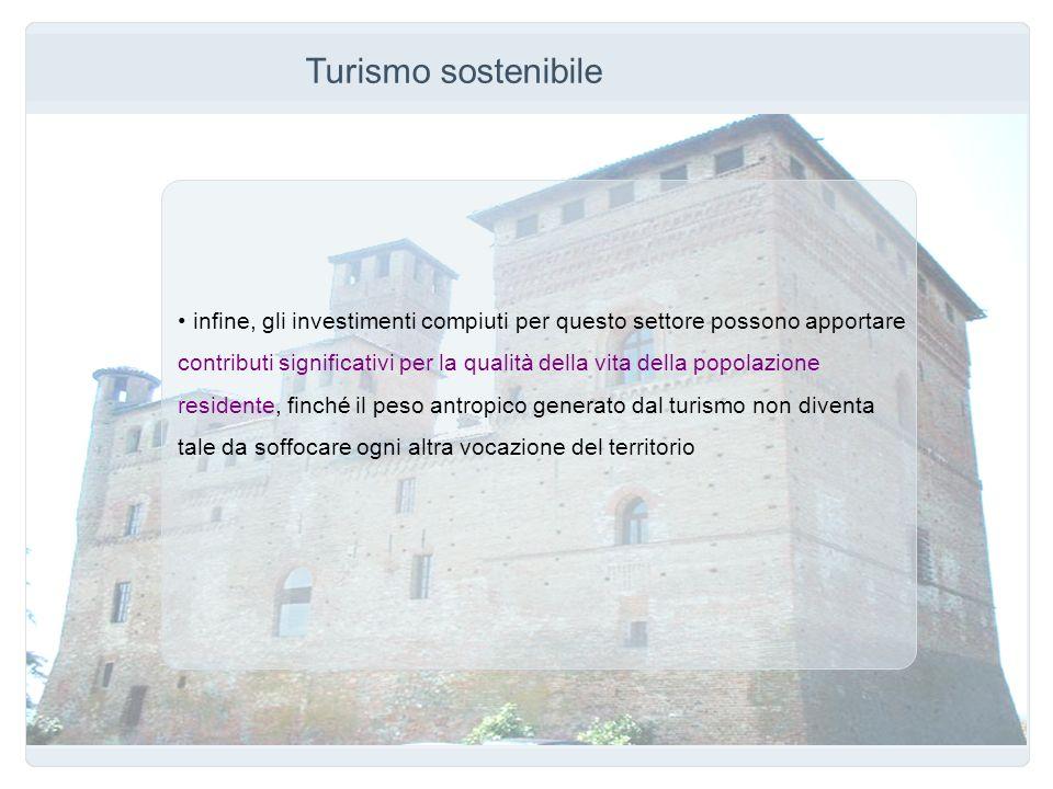 Turismo sostenibile infine, gli investimenti compiuti per questo settore possono apportare contributi significativi per la qualità della vita della po