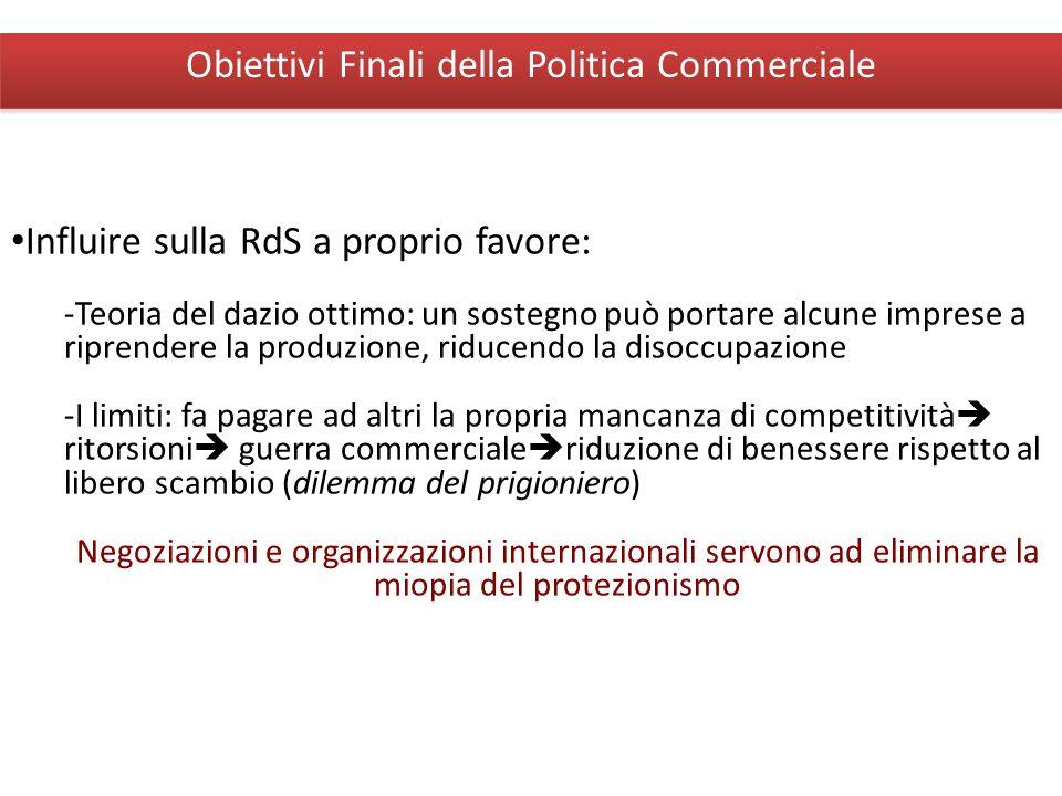 Giuseppe De Arcangelis © 2012Economia Internazionale10 Obiettivi Finali della Politica Commerciale Influire sulla RdS a proprio favore: -Teoria del da