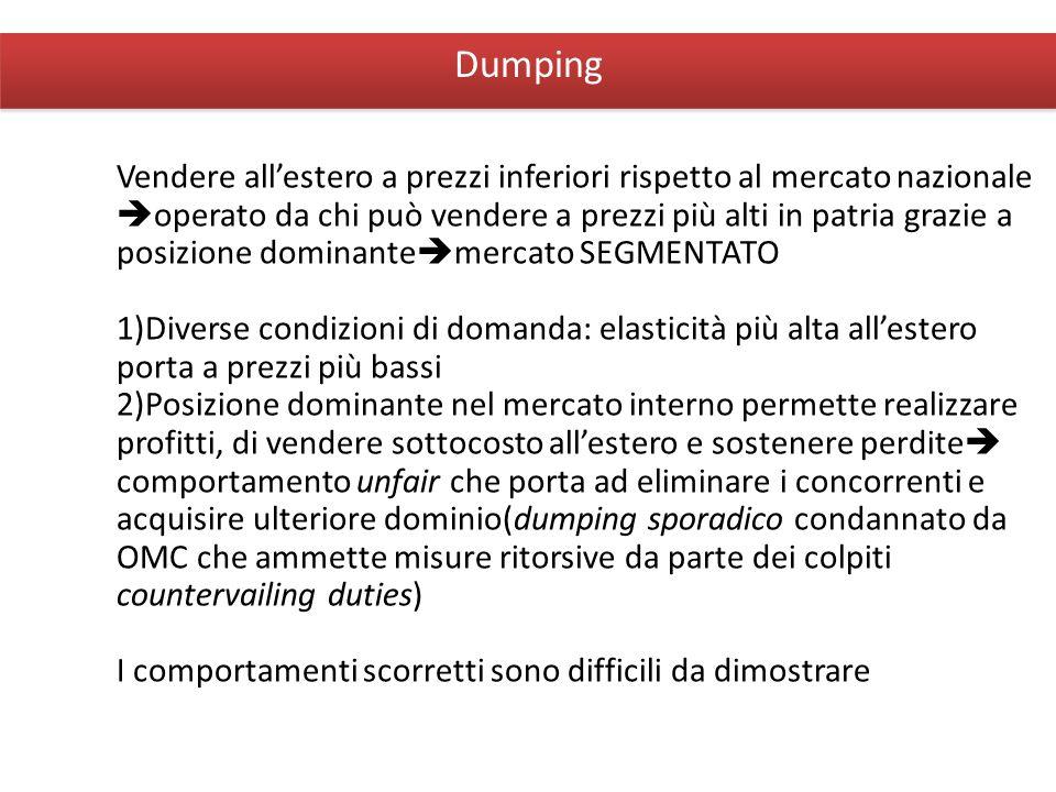 Giuseppe De Arcangelis © 2012Economia Internazionale7 Dumping Vendere allestero a prezzi inferiori rispetto al mercato nazionale operato da chi può ve