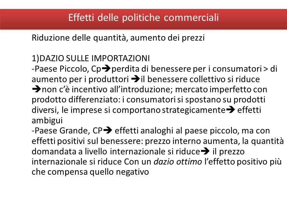 Giuseppe De Arcangelis © 2012Economia Internazionale8 Effetti delle politiche commerciali Riduzione delle quantità, aumento dei prezzi 1)DAZIO SULLE I