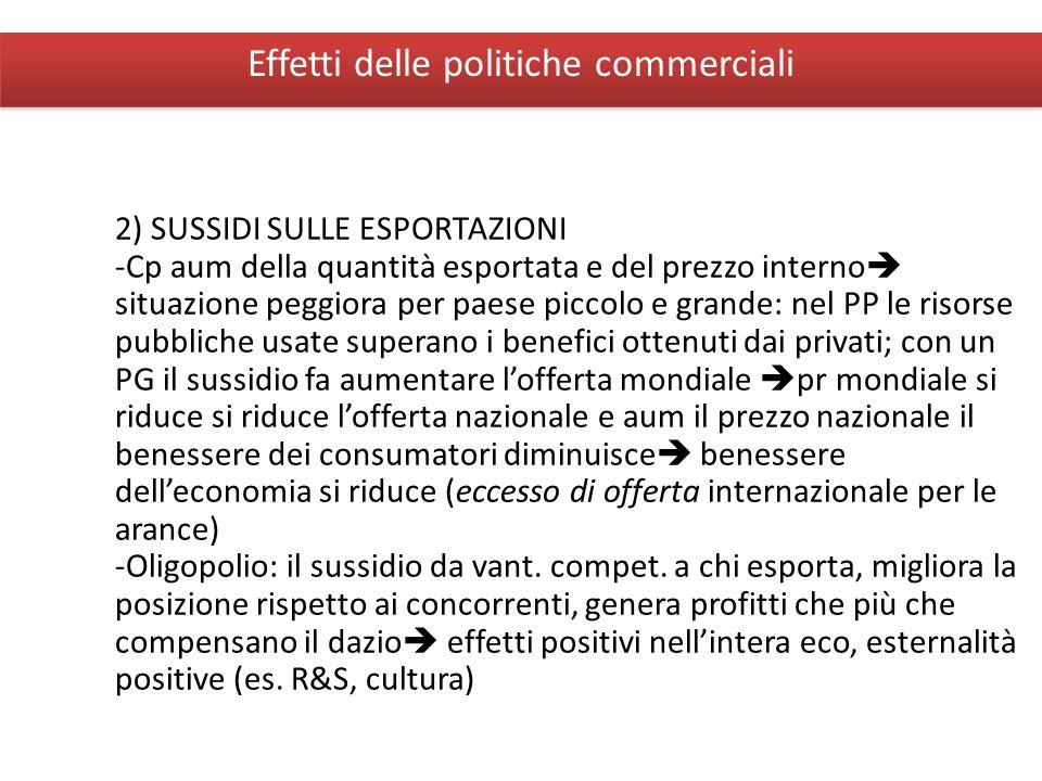 Giuseppe De Arcangelis © 2012Economia Internazionale9 Effetti delle politiche commerciali 2) SUSSIDI SULLE ESPORTAZIONI -Cp aum della quantità esporta