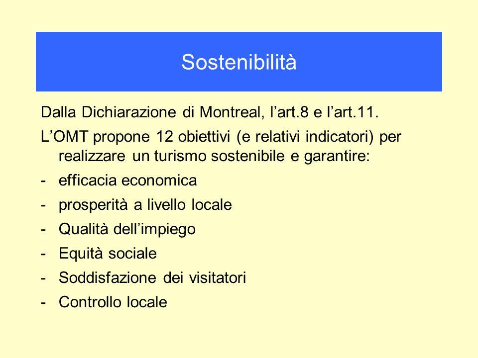 Dalla Dichiarazione di Montreal, lart.8 e lart.11. LOMT propone 12 obiettivi (e relativi indicatori) per realizzare un turismo sostenibile e garantire