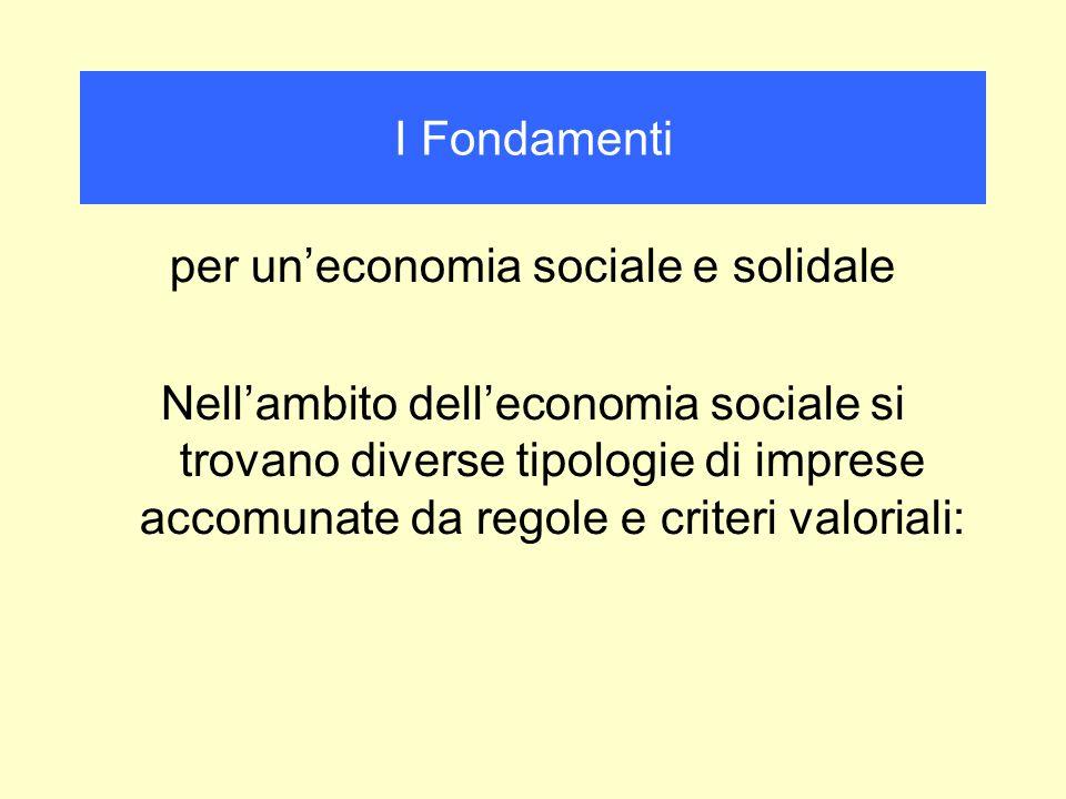per uneconomia sociale e solidale Nellambito delleconomia sociale si trovano diverse tipologie di imprese accomunate da regole e criteri valoriali: I
