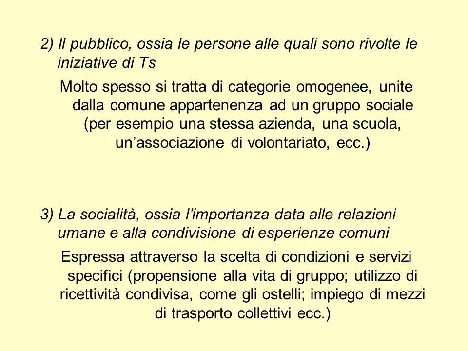 2) Il pubblico, ossia le persone alle quali sono rivolte le iniziative di Ts Molto spesso si tratta di categorie omogenee, unite dalla comune apparten