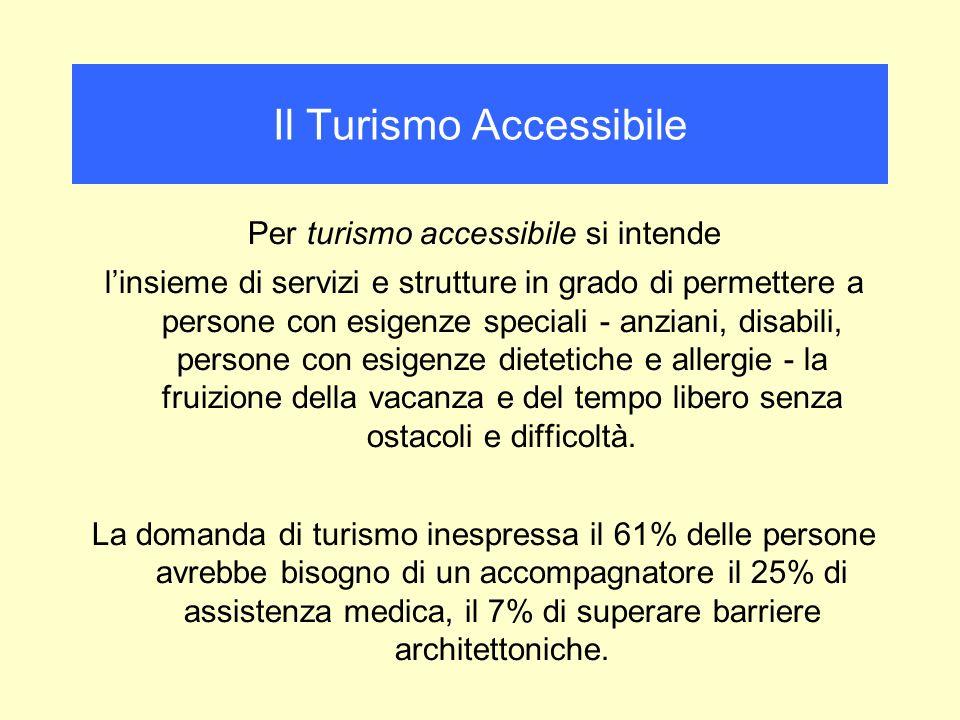 Per turismo accessibile si intende linsieme di servizi e strutture in grado di permettere a persone con esigenze speciali - anziani, disabili, persone