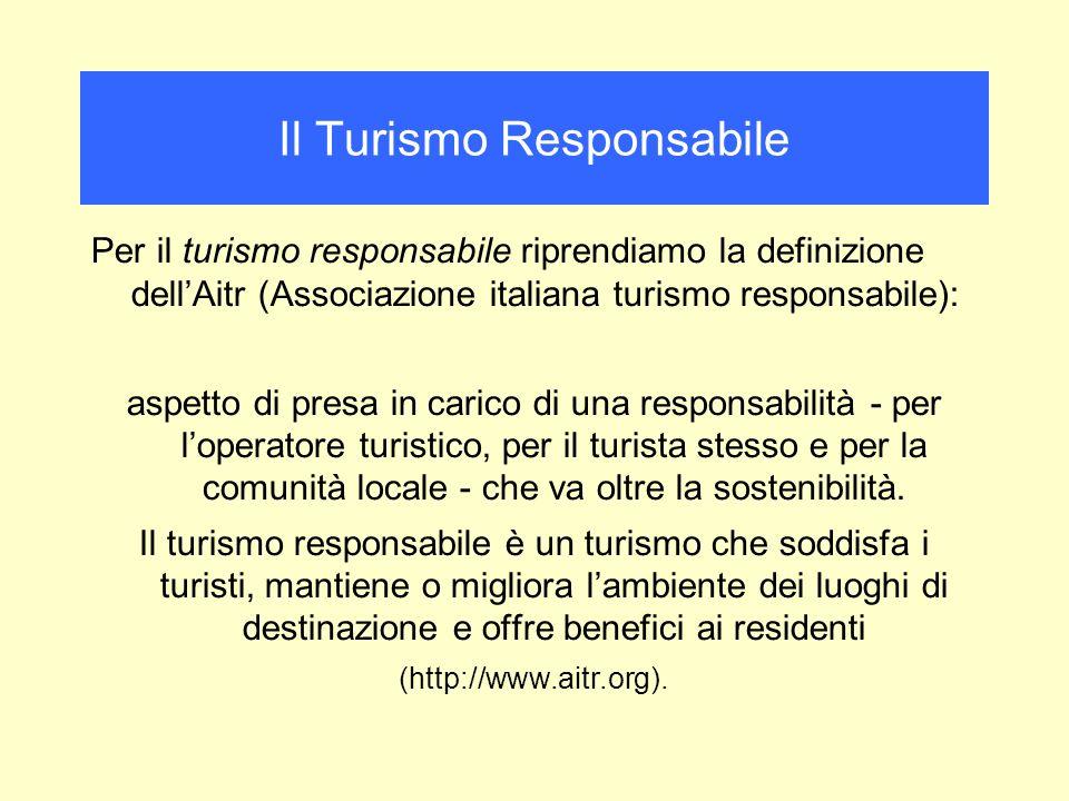 Per il turismo responsabile riprendiamo la definizione dellAitr (Associazione italiana turismo responsabile): aspetto di presa in carico di una responsabilità - per loperatore turistico, per il turista stesso e per la comunità locale - che va oltre la sostenibilità.