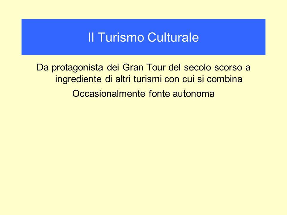 Da protagonista dei Gran Tour del secolo scorso a ingrediente di altri turismi con cui si combina Occasionalmente fonte autonoma Il Turismo Culturale