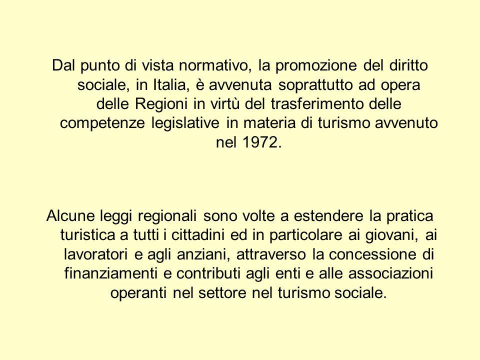 Dal punto di vista normativo, la promozione del diritto sociale, in Italia, è avvenuta soprattutto ad opera delle Regioni in virtù del trasferimento delle competenze legislative in materia di turismo avvenuto nel 1972.