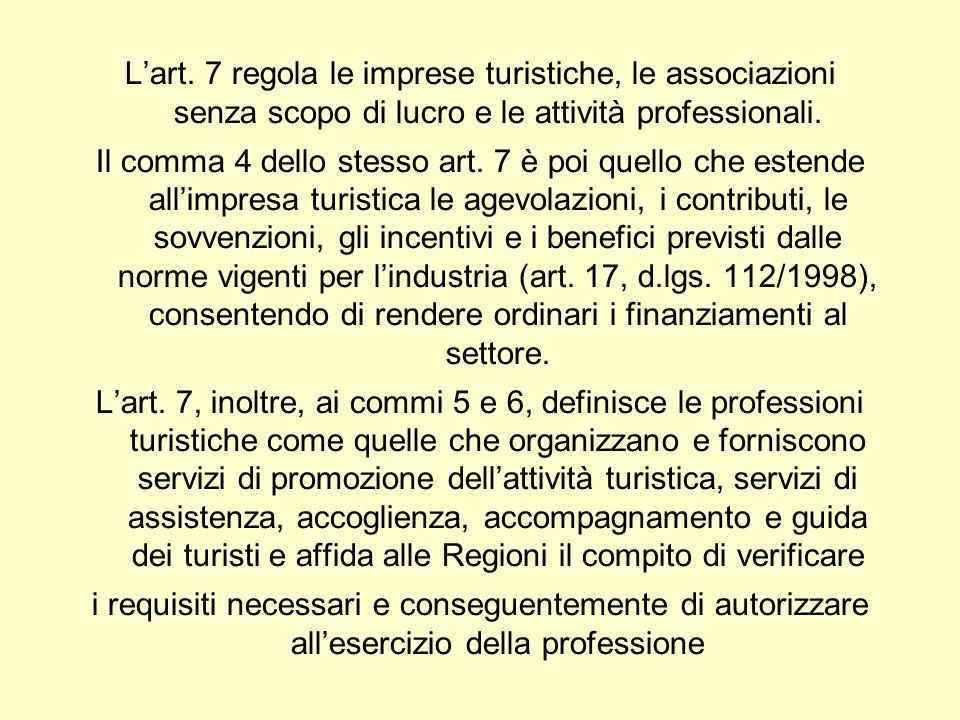 Lart. 7 regola le imprese turistiche, le associazioni senza scopo di lucro e le attività professionali. Il comma 4 dello stesso art. 7 è poi quello ch