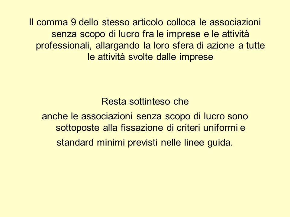 Il comma 9 dello stesso articolo colloca le associazioni senza scopo di lucro fra le imprese e le attività professionali, allargando la loro sfera di