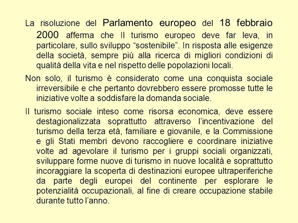 La risoluzione del Parlamento europeo del 18 febbraio 2000 afferma che Il turismo europeo deve far leva, in particolare, sullo sviluppo sostenibile.