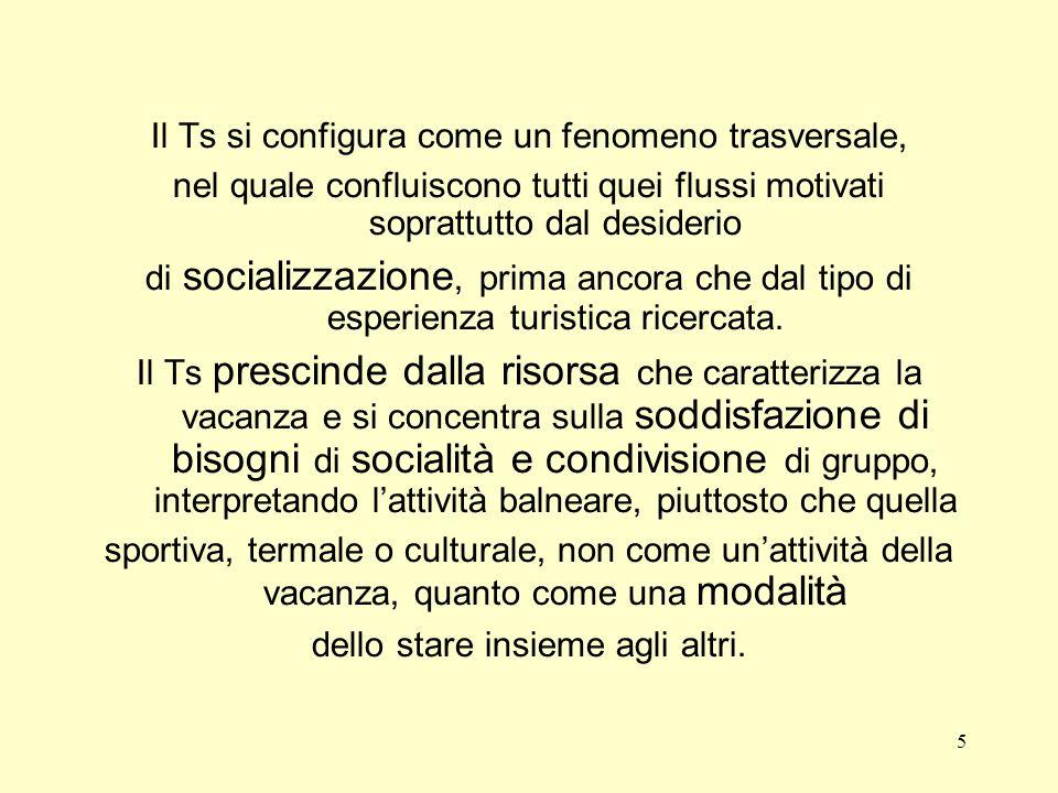 5 Il Ts si configura come un fenomeno trasversale, nel quale confluiscono tutti quei flussi motivati soprattutto dal desiderio di socializzazione, prima ancora che dal tipo di esperienza turistica ricercata.