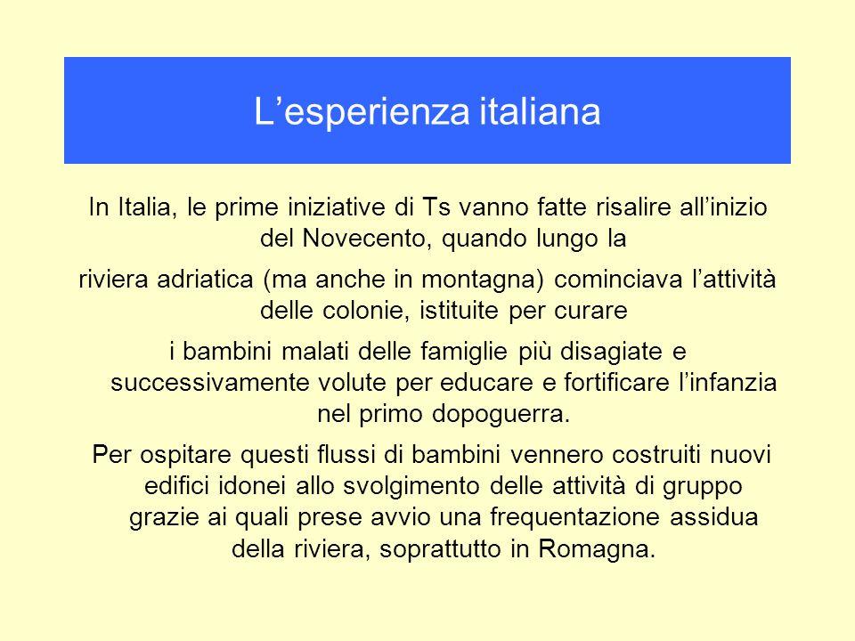 In Italia, le prime iniziative di Ts vanno fatte risalire allinizio del Novecento, quando lungo la riviera adriatica (ma anche in montagna) cominciava