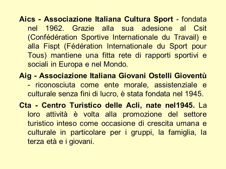 Aics - Associazione Italiana Cultura Sport - fondata nel 1962. Grazie alla sua adesione al Csit (Confédération Sportive Internationale du Travail) e a