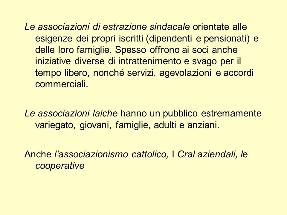 Le associazioni di estrazione sindacale orientate alle esigenze dei propri iscritti (dipendenti e pensionati) e delle loro famiglie. Spesso offrono ai